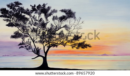 My Original painting: Beautiful sky and a tree silhouette on sunset - stock photo