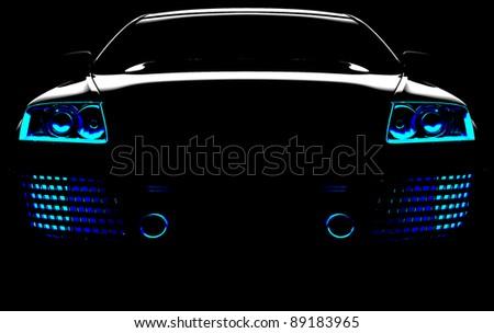 My own car design in black - stock photo