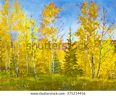 My own hand drawn picture, oil painting, autumn landscape.  - stock photo