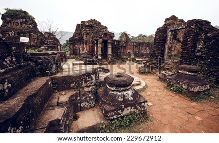 My Son temple ruins, Vietnam - stock photo