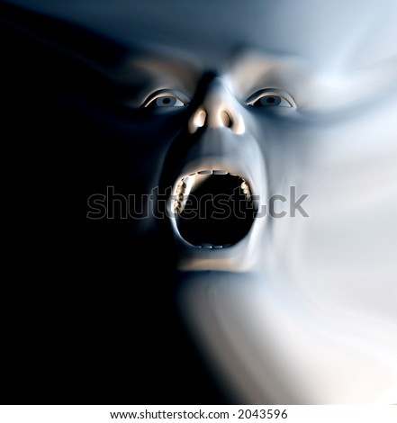 My vision of a abstract nightmare with a face that could be in great pain or could be some form of howling ghost - stock photo