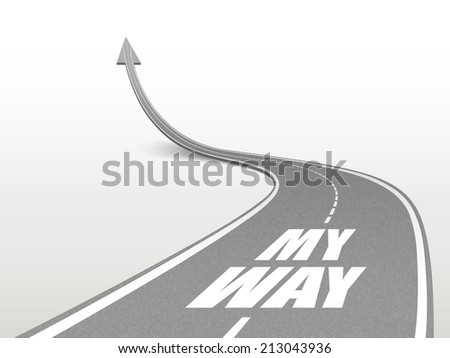 my way words on highway road going up as an arrow - stock photo