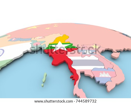 Myanmar on political globe with embedded flags. 3D illustration.