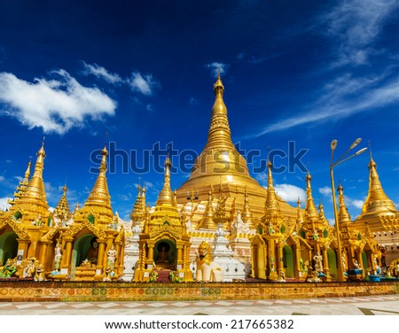 Myanmer famous sacred place and tourist attraction landmark - Shwedagon Paya pagoda. Yangon, Myanmar - stock photo