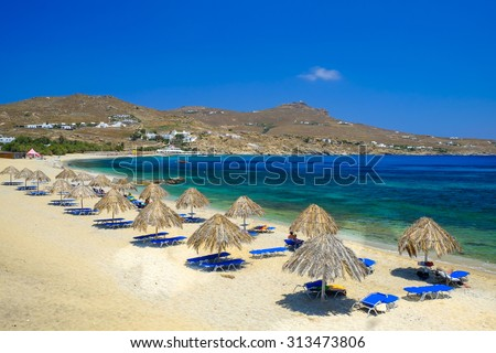 mykonos beach - stock photo