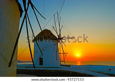 Mykonos, famous windmill at sunset - stock photo