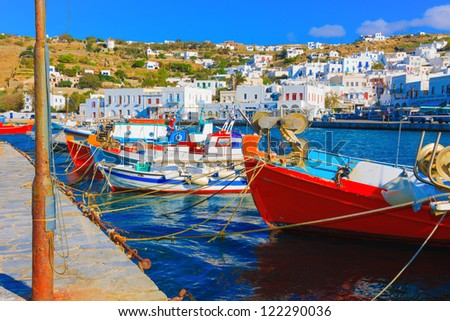 Mykonos Greece, Beautiful colorful wooden fishing boats on row  Mykonos island old port Greece Cyclades - stock photo