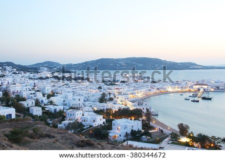 Mykonos town at evening, Greece - stock photo