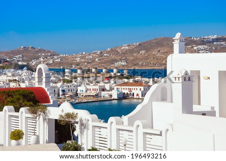 Mykonos Town Chora and Harbor view - stock photo