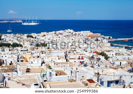 Mykonos Town from above, Greece - stock photo