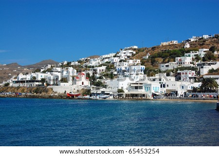 Mykonos - Whitewashed Homes on the Water - stock photo
