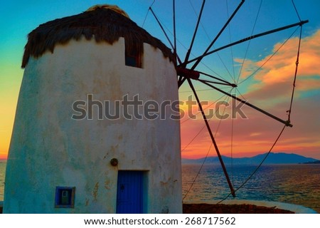 Mykonos Windmill during a Sunset                                - stock photo