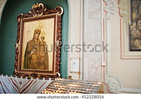 Mykykyntsi, Ukraine - circa June, 2016: Image icon of the Mother of God Mary and child Jesus Christ at church - stock photo
