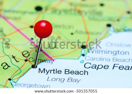 Myrtle Beach Pinned On A Map Of South Carolina USA