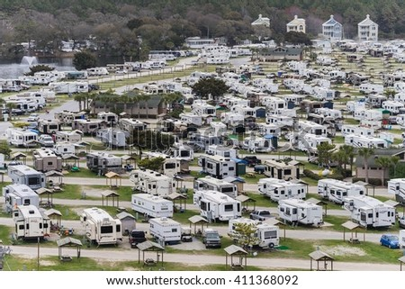 Myrtle Beach, USA - Circa March 2016 - View over a trailer park