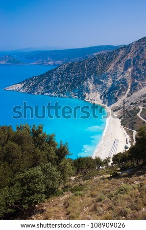Myrtos beach in Kefalonia in Greece - stock photo