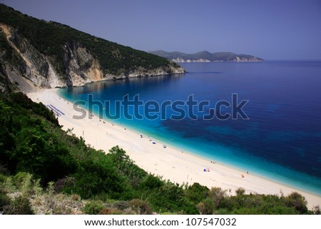 Myrtos beach Kefalonia Greece - stock photo