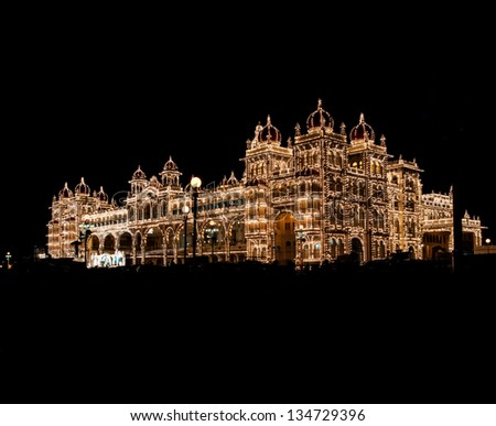 Mysore palace at full lights during Dussera Festival - stock photo