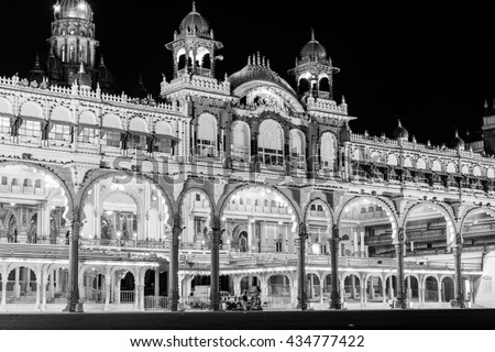 Mysore Palace in black and white lighted up at night, India