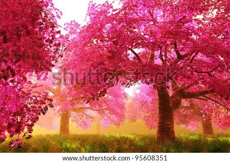 Mysterious Cherry Blossoms Japanese Garden cartoony 3D render - stock photo