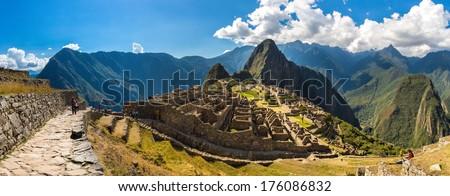 Mysterious city - Machu Picchu, Peru,South America. The Incan ruins. Example of polygonal masonry and skill - stock photo