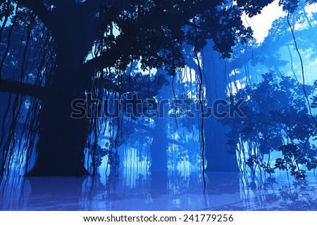 Mysterious Deep Jungle in the Dark at Night 3D artwork - stock photo