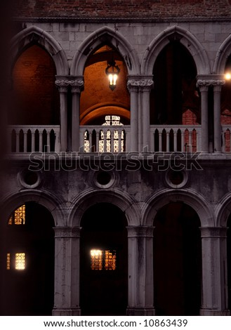 Mysterious Doge arcade in the evening in Venice - stock photo
