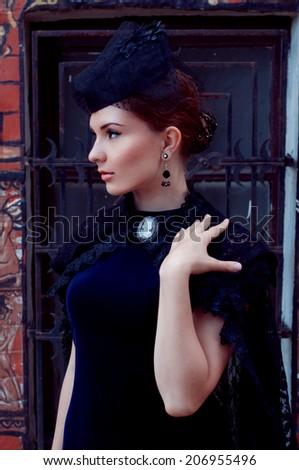Mysterious duchess in dark.Retro style. Victorian. - stock photo