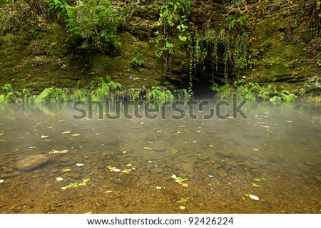 Mysterious fairy-tale cave across misty pond in rain forest - stock photo