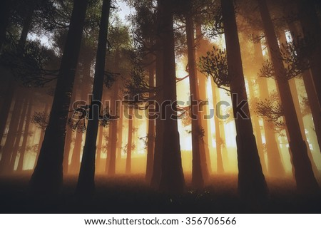 Mysterious Fairy Tale Deep Magic Forest 3D Artwork - stock photo