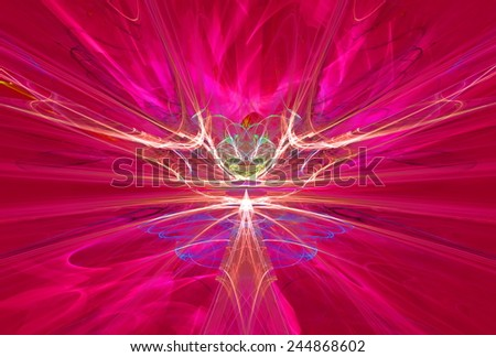 Mysterious  magnetic fields in the red sky. Fractal art graphics. - stock photo