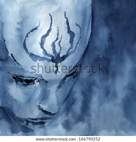 Mysterious mask. Abstract face over a dark background. Square composition. Washed indigo ink on paper.  - stock photo