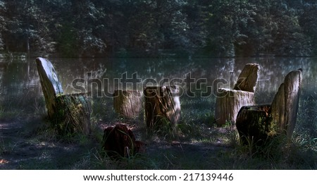 mysterious mood in the forest - a sitting area made of tree trunks directly on the shore of a lake