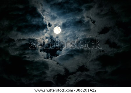 Mysterious night sky with full moon