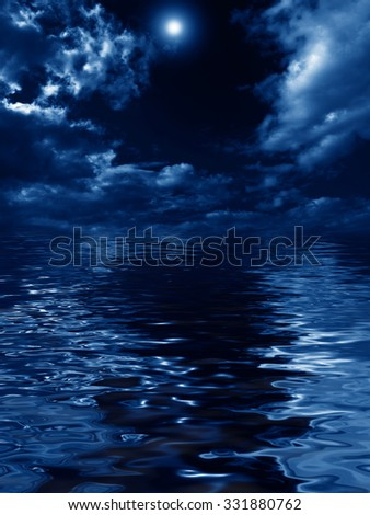 mysterious nightly clouds over the water - stock photo