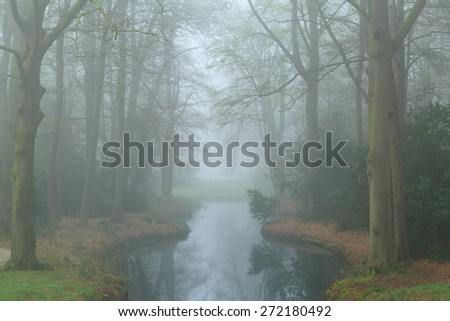 Mysterious pond in a landscape park on a foggy, spring day. - stock photo