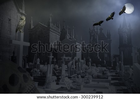 Mysterious, scary and old cemetery in a misty full moon night - stock photo