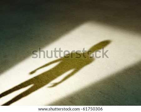 Mysterious shadow of a male figure standing in a doorway. Digital illustration. - stock photo