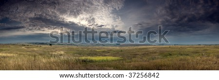 Mysterious view of thunderstorm - stock photo