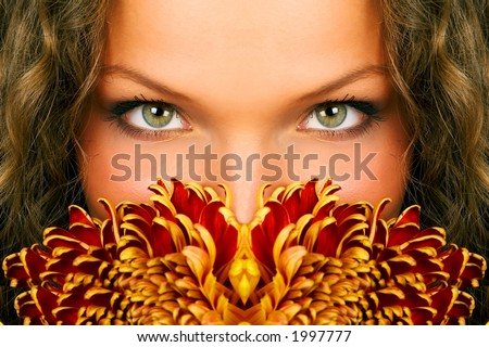 mysterious woman eyes - stock photo