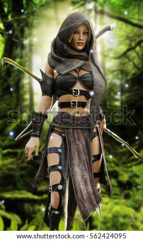Mysterious Wood Elf Warrior Mystical Forest Stock ...