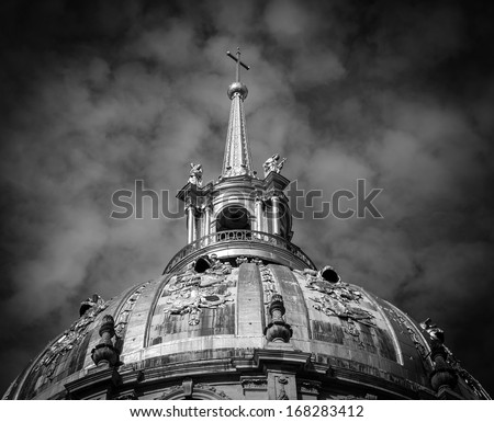 Mystery background. Dome of Les Invalides chapel in Paris. Black and white. - stock photo