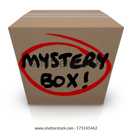 Mystery Box Cardboard Package Mysterious Contents - stock photo