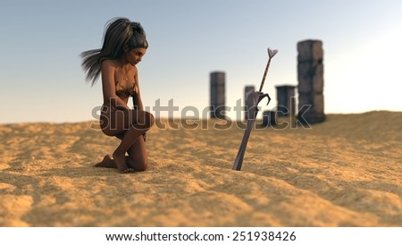 mystery girl in desert on ruins background with sword - stock photo