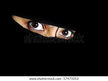 Mystery, woman, eyes, oriental, exotic - stock photo