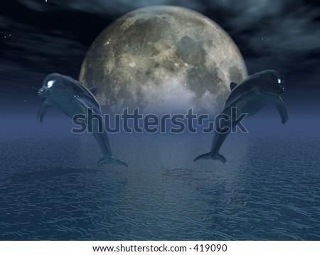 Mystic Dolphins - stock photo