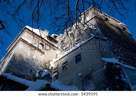 Mystic Dracula's castle in winter