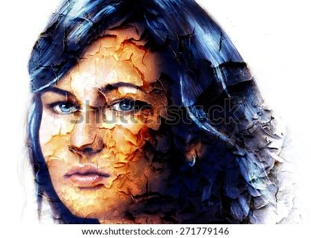 mystic face women, with structure crackle background effect, collage. eye contact