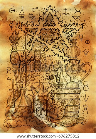 Mystic illustration with alchemical symbols, skull, fire pentagram and laboratory equipment on old paper background. Occult and esoteric drawing, gothic and wicca concept