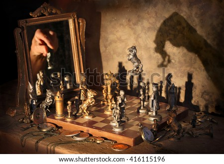 Mystic image with chess game.